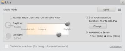 Aca podremos hacer ajustes de la luminocidad durant eel dia y la noche, podemos automatizar esto presionando el boton de Opciones, adema spodemos seleciconar si queremos un cambio bruco (20 seg) o que el cambio s ehaga d eforma progresiva (60 min)
