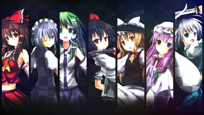 Konachan.com - 143066 blue_eyes bow braids gray_hair green_eyes green_hair group hat long_hair maid miko pink_hair red_eyes short_hair sword touhou weapon wink witch_hat
